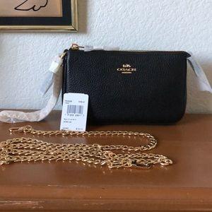 NWT Coach LG Black Pebble Leather Chain Wristlet